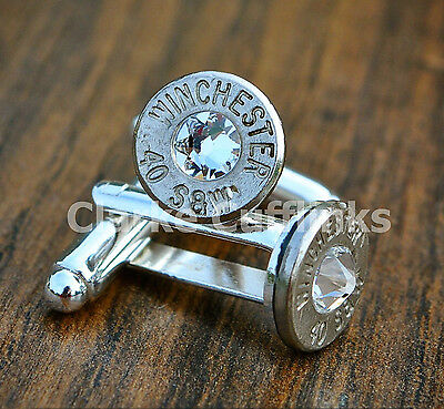 Bullet Cufflinks Steampunk Army Soldier Shooting Rifle Mens Wedding Groom Gift