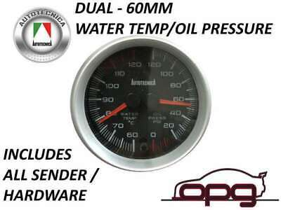 60Mm Dual Gauge Performance Water Temp Oil Pressure Analog Black Face 7 Colour