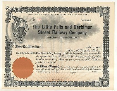 LITTLE FALLS AND HERKIMER STREET RAILWAY COMPANY NY Railroad Stock Certificate