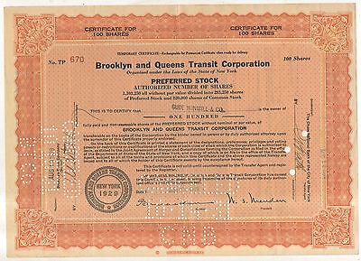 BROOKLYN AND QUEENS TRANSIT CORPORATION Railroad Preferred Stock Certificate