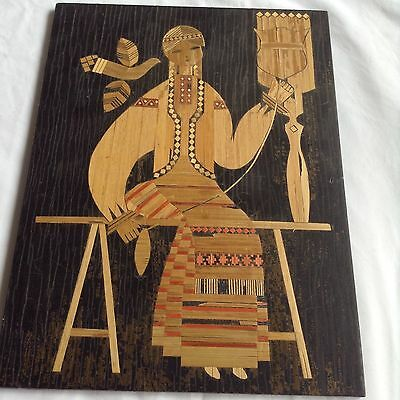 Vintage European Folk Art Wood Wall Plaque Woman Weaving And Dove Maybe Russian