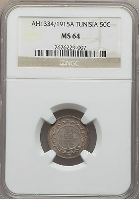 AH 1334 1915-A Tunisia 50 Centimes NGC MS 64