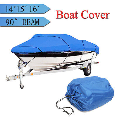 """Heavy Duty Fish Ski Boat Cover Trailerable 90""""w For 14-16ft V-Hull Waterproof"""