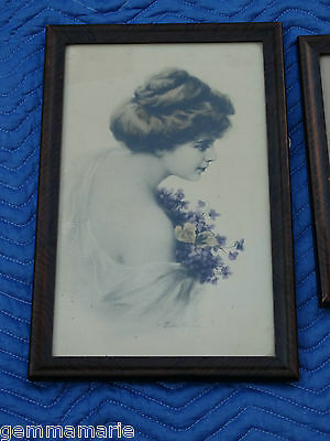 Art Nouveau Zula Kenyon Print picture Victorian framed & Hand colored print