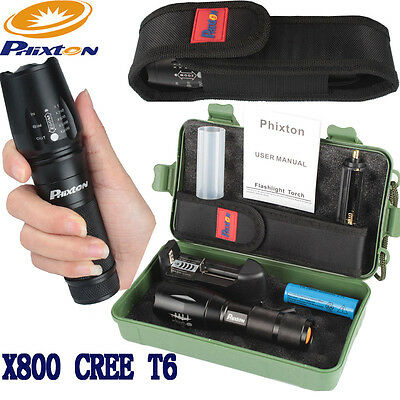 Phixton 5000LM XM-LT6 LED 18650/26650/AAA Flashlight+Battery+Charger+Case+Pouch