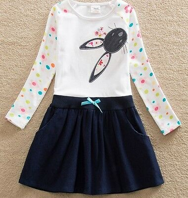 Girls Long Sleeve Casual Dress - Age 3 4 5 6 7 Kids Pretty Blue Rabbit Clothes