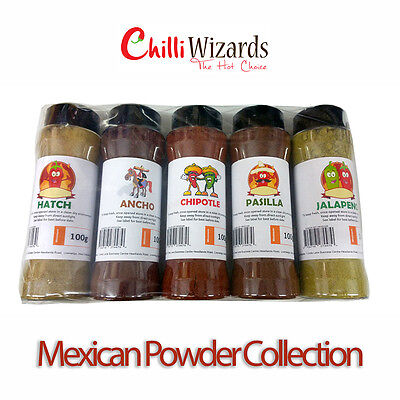 Chilli Powder Shaker Gift Pack - Mexican 5 Pack Selection.