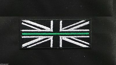 Thin Green Line Ambulance Union Jack Embroidered Iron on/Sew on/Free Postage