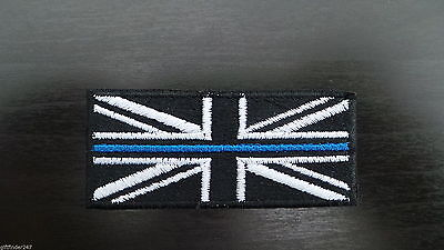 Thin Blue Line Police Union Jack Embroidered Iron on/Sew on/Free Postage