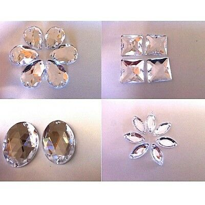 Sew On Clear Teardrop Oval Square Marquise Crystal Rhinestone Flatback Buttons