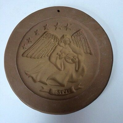 Hartstone Pottery First Edition Cookie Mold Angel Playing Instrument Stars 1978