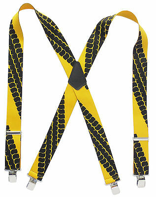 "Heavy Duty 2"" Wide Trucker's Work Suspenders Tire Tracks on Yellow Adult Size"