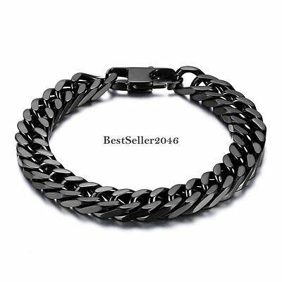 Black Stainless Steel 10mm Heavy Wide Mens Womens Curb Link Chain Bracelet 8""