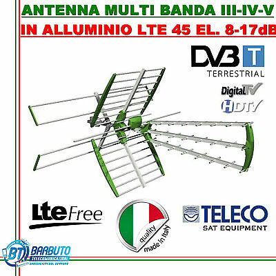 KIT ANTENNA COMBO DIGITALE TERRESTRE LTE UHF+VHF 1 OUT 45 ELEMENTI GUADAGNO 17dB