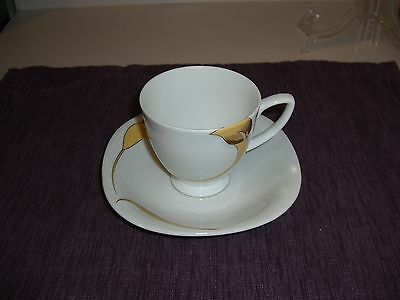 Rare Town House 224 Footed Cup & Saucer Set (S) Gold Calla Lily Design