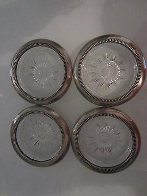 set of 4 Vintage Italian Glass & Silver Plated Coaster / Ashtray