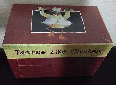 "Red Recipe Box - ""Tastes Like Chicken"" Broad Appeal - Bottman Design"
