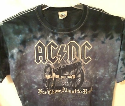"AC/DC Band ""For Those About to Rock"" Purple/Black Tie-Dye 2006 Cotton Shirt XL"