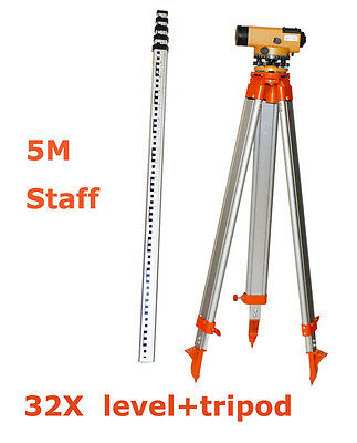 Hot New 32X Automatic level Tripod  5M Staff  For Surveying Carry Case