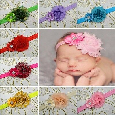 10 PCS Baby Kids Girl Toddler Infant Flower Headband Hair Bow Band Headwear JC
