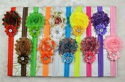 10 PCS Baby Kids Girl Toddler Infant Flower Headband Hair Bow Band Headwear JA