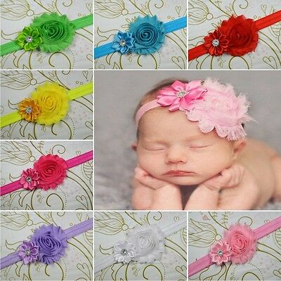 10 PCS Baby Kids Girl Toddler Infant Flower Headband Hair Bow Band Headwear JS