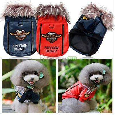 Pet Dog Puppy Winter Warm Clothes Motorcycle Leather Jacket Coat Apparel Costume