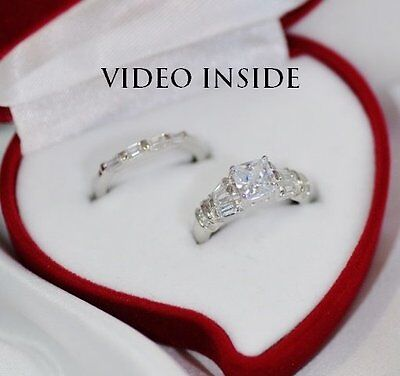 Real Solid Silver Finish Lab Diamond Engagement Wedding Ring Set Fine Platinum