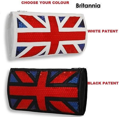 WHOLESALE JOB LOT 25 x UNION JACK PATENT FAUX LEATHER SEQUINED CLUTCH BAG PURSE