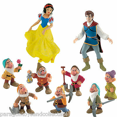 BULLYLAND DISNEY SNOW WHITE, THE PRINCE AND THE 7 DWARFS FIGURES - 9 figures