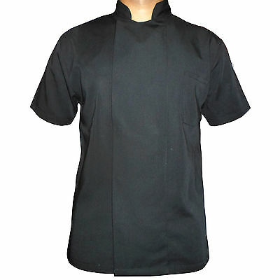 Black/white coat  Chef Apparel Unisex Short Sleeve Chef Jacket stub button
