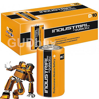 10 Duracell INDUSTRIAL D Cell Batteries Alkaline LR20 MN1300 Replaces Procell D