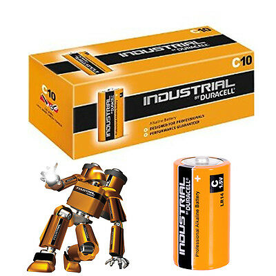 10 x DURACELL INDUSTRIAL C SIZE MN1400 LR14 ALKALINE BATTERIES REPLACES PROCELL