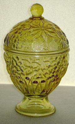 Vintage 1965 Avon Floral Candle Compote Covered Bowl Flashed Amber