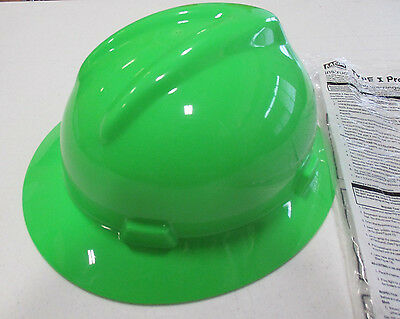 MSA 815570 Hard Hat, Full Brim, Lime Green  w/Fas-Trac Suspension