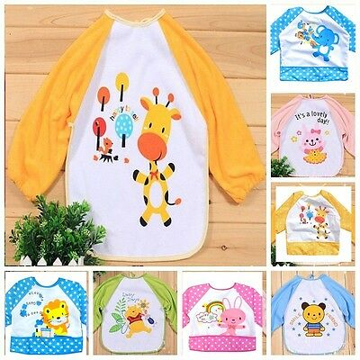 Baby Toddler Coverall Art Paint Apron Waterproof Long  Sleeves Bibs