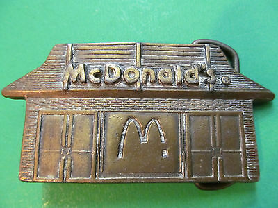 McDonalds Restaurant Vintage Brass Belt Buckle