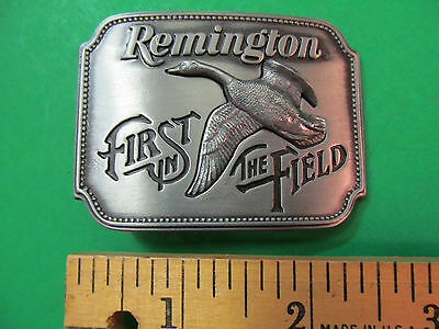 Remington First In The Field Canada Goose Sid Bell Vintage Belt Buckle USA 1980
