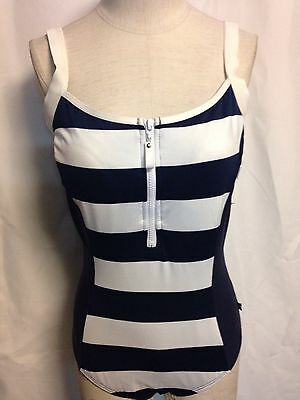 Nautca Striped Half Zip One Piece Swimsuit  8 Navy New w/ Tags
