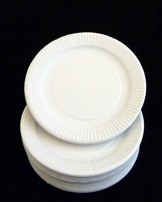 "WHITE DISPOSABLE PAPER PLATES SIZE 9"" & 7 inch For Birthday Christmas Party BBQ"