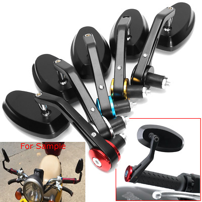 """2x Universal Motorcycle Bike 7/8"""" 22mm Bar End Rear Side View Mirrors Cafe Racer"""