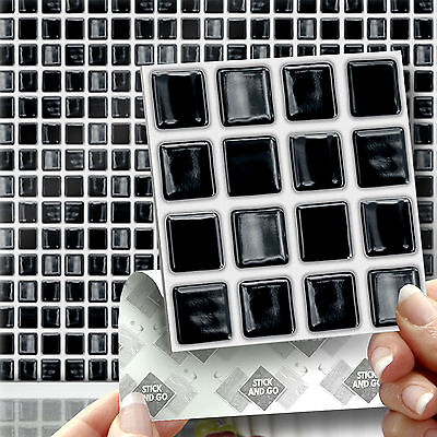 18 Black Mosaic Stick On Self Adhesive Wall Tile Stickers For Kitchen & Bathroom