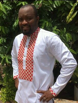 Odeneho Wear Men's White Polished Cotton Top/ Embroidery. African Clothing