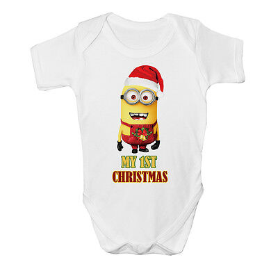 Cute My 1st XMAS Minion Funny Baby Vest Grow Despicable Me Top Size Boys Girls