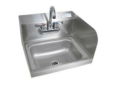 "14"" x 10"" Stainless Steel Splash Mount Hand Sink w Faucet BBKHS-W-1410-RS-P-G"