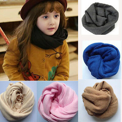 Hot Children Girls Boys Soft Cotton Linen Scarf Scarves Solid Color Shawl Newly