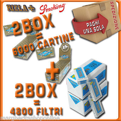 6000 CARTINE Smoking ORO DOPPIE cort=2box+4800 FILTRI 5,5MM RIZLA ULTRASLIM 2box