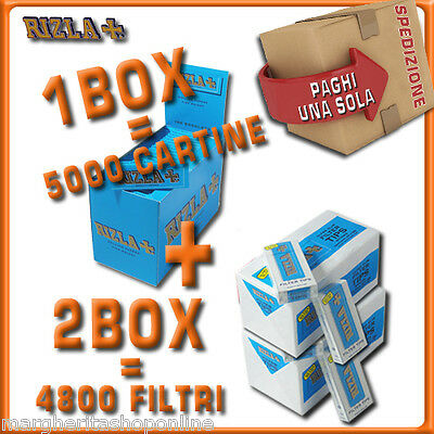 5000 CARTINE RIZLA CORTE BLU=1box + 4800 FILTRI 5,5MM RIZLA ULTRASLIM 2box