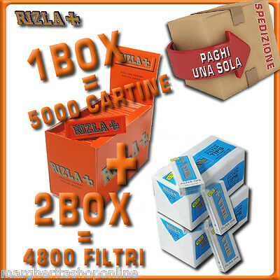 5000 CARTINE RIZLA CORTE ROSSE=1box + 4800 FILTRI 5,5MM RIZLA ULTRASLIM 2box