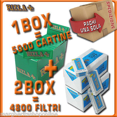 5000 CARTINE RIZLA CORTE VERDI=1box + 4800 FILTRI 5,5MM RIZLA ULTRASLIM 2box